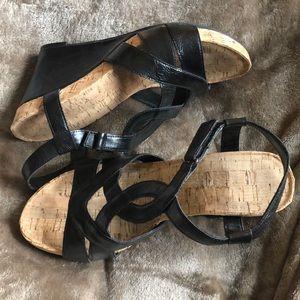 Black wedges cork sole